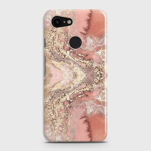 Trendy Chic Rose Gold Marble 3D Case For Google Pixel 3