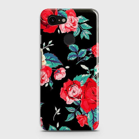 Google Pixel 3 XL Cover - Luxury Vintage Red Flowers Printed Hard Case with Life Time Colors Guarantee