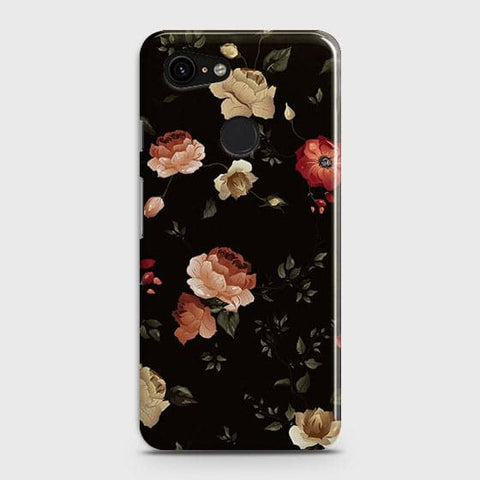 Google Pixel 3 XL Cover - Dark Rose Vintage Flowers Printed Hard Case with Life Time Colors Guarantee