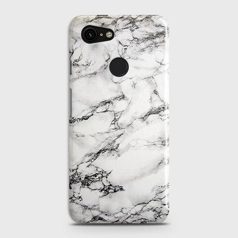 Google Pixel 3 XL Cover - Trendy White Floor Marble Printed Hard Case with Life Time Colors Guarantee