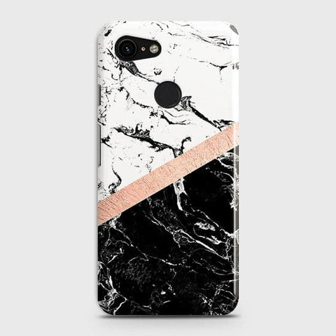 3D Black & White Marble With Chic RoseGold Strip Case For Google Pixel 3 XL