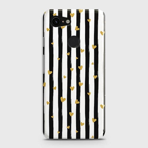 Google Pixel 3 XL Cover - Trendy Black & White Strips With Golden Hearts Printed Hard Case with Life Time Colors Guarantee