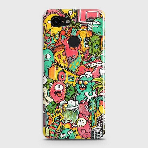 Google Pixel 3 XL Cover - Candy Colors Trendy Sticker Bomb Printed Hard Case with Life Time Colors Guarantee