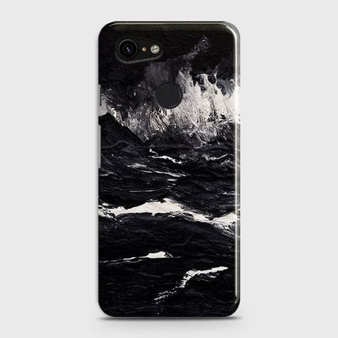 Google Pixel 3 XL Cover - Black Ocean Marble Trendy Printed Hard Case with Life Time Colors Guarantee