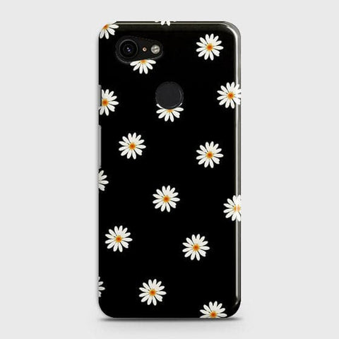 Google Pixel 3 XL Cover - White Bloom Flowers with Black Background Printed Hard Case with Life Time Colors Guarantee
