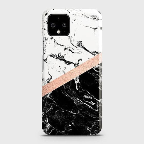 3D Black & White Marble With Chic RoseGold Strip Case For Google Pixel 4