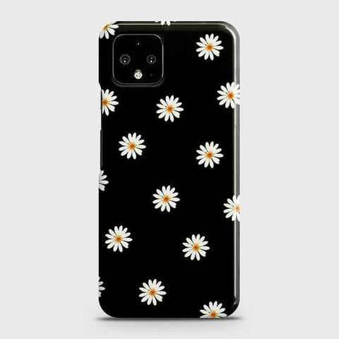White Bloom Flowers with Black Background Case For Google Pixel 4