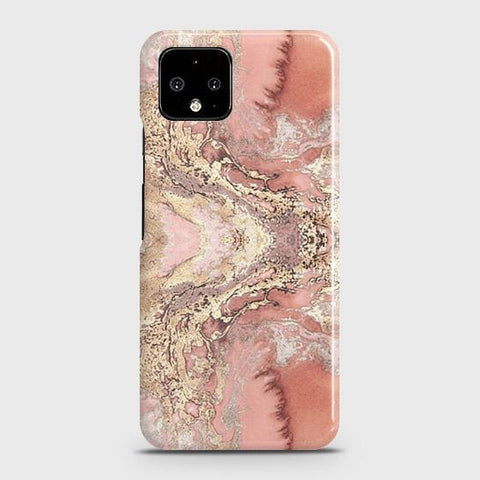 Trendy Chic Rose Gold Marble 3D Case For Google Pixel 4 XL