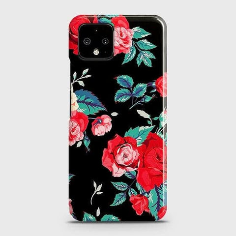 Google Pixel 4 XL Cover - Luxury Vintage Red Flowers Printed Hard Case with Life Time Colors Guarantee