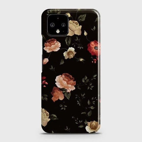 Google Pixel 4 XL Cover - Dark Rose Vintage Flowers Printed Hard Case with Life Time Colors Guarantee