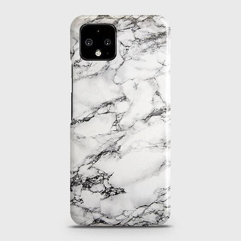 Google Pixel 4 XL Cover - Trendy White Floor Marble Printed Hard Case with Life Time Colors Guarantee
