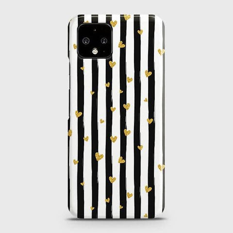 Google Pixel 4 XL Cover - Trendy Black & White Strips With Golden Hearts Printed Hard Case with Life Time Colors Guarantee