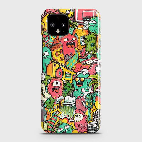 Google Pixel 4 XL Cover - Candy Colors Trendy Sticker Bomb Printed Hard Case with Life Time Colors Guarantee