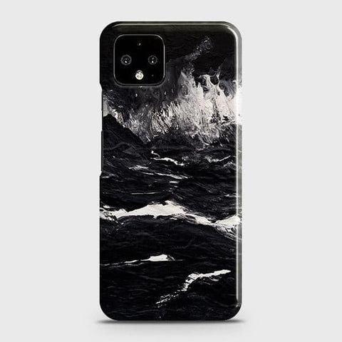 Google Pixel 4 XL Cover - Black Ocean Marble Trendy Printed Hard Case with Life Time Colors Guarantee