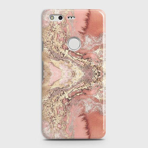Trendy Chic Rose Gold Marble 3D Case For Google Pixel XL