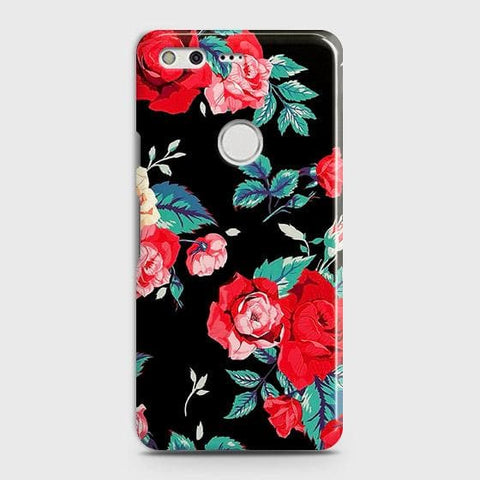 Luxury Vintage Red Flowers Case For Google Pixel XL