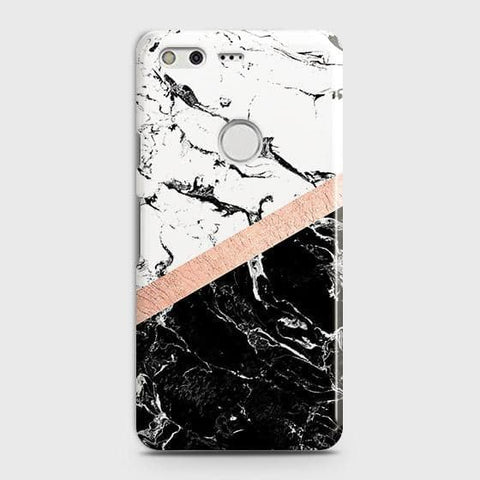 3D Black & White Marble With Chic RoseGold Strip Case For Google Pixel XL
