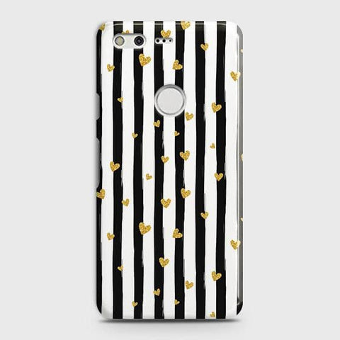 Trendy Black & White Strips With Golden Hearts Hard Case For Google Pixel XL
