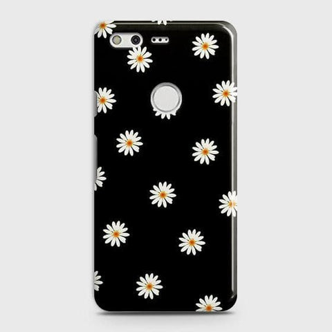 Google Pixel XL Cover - White Bloom Flowers with Black Background Printed Hard Case with Life Time Colors Guarantee