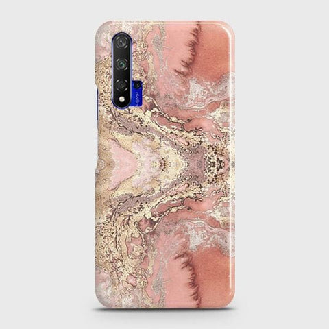 Trendy Chic Rose Gold Marble 3D Case For Honor 20
