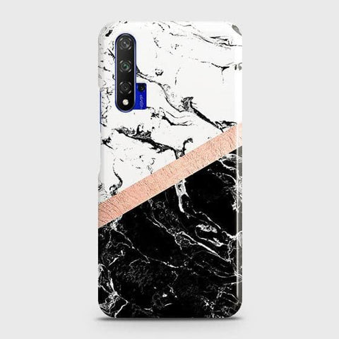 3D Black & White Marble With Chic RoseGold Strip Case For Honor 20