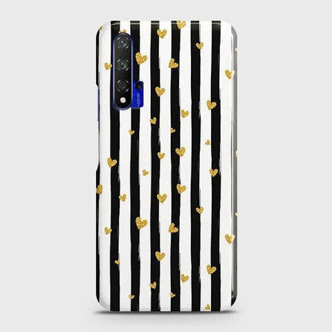 Trendy Black & White Strips With Golden Hearts Hard Case For Honor 20