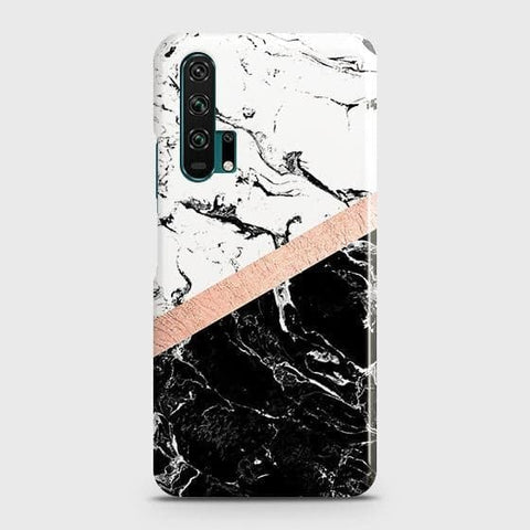 3D Black & White Marble With Chic RoseGold Strip Case For Honor 20 Pro
