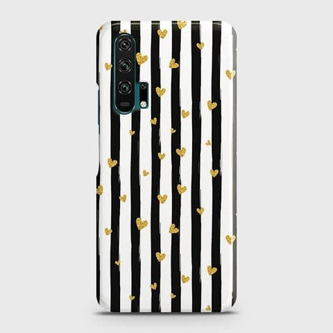 Trendy Black & White Strips With Golden Hearts Hard Case For Honor 20 Pro