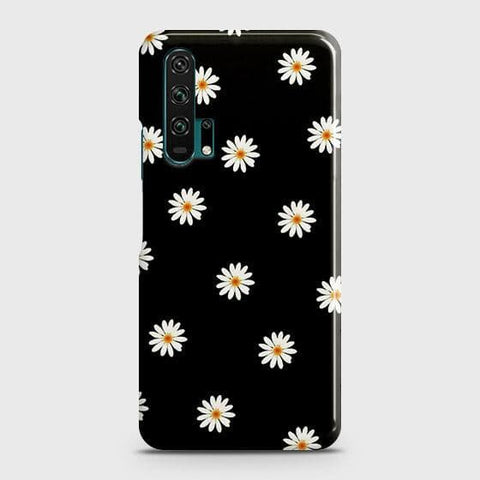 White Bloom Flowers with Black Background Case For Honor 20 Pro