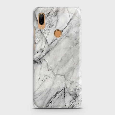 Honor 8A Pro Cover - Trendy White Floor Marble Printed Hard Case with Life Time Colors Guarantee
