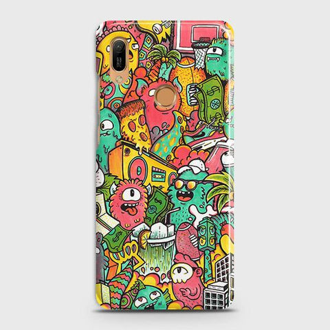 Honor 8A Pro Cover - Candy Colors Trendy Sticker Bomb Printed Hard Case with Life Time Colors Guarantee