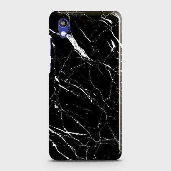 Huawei Honor 8S Cover - Trendy Black Marble Printed Hard Case with Life Time Colors Guarantee