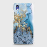 Huawei Honor 8S Cover - Trendy Golden & Blue Ocean Marble Printed Hard Case with Life Time Colors Guarantee