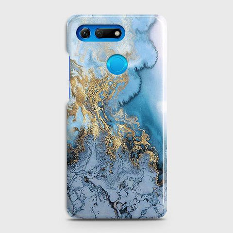 Huawei Honor View 20Cover - Trendy Golden & Blue Ocean Marble Printed Hard Case with Life Time Colors Guarantee