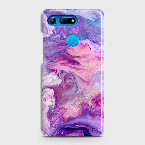 Huawei Honor View 20 Cover - Chic Blue Liquid Marble Printed Hard Case with Life Time Colors Guarantee