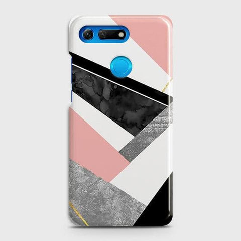 Huawei Honor View 20 Cover - Geometric Luxe Marble Trendy Printed Hard Case with Life Time Colors Guarantee