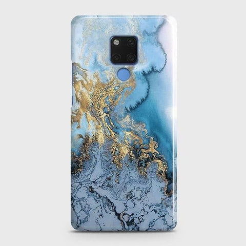 3D Trendy Golden & Blue Ocean Marble Snap On Case For Huawei Mate 20