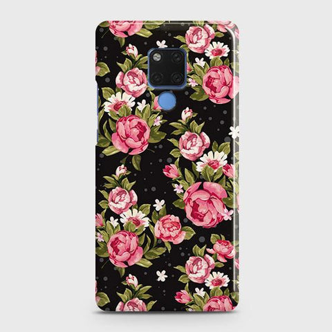 Trendy Pink Rose Vintage Flowers Snap On Case For Huawei Mate 20
