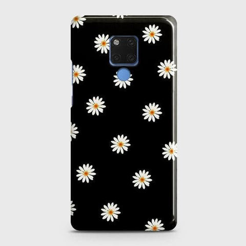 White Bloom Flowers with Black Background Snap On Case For Huawei Mate 20