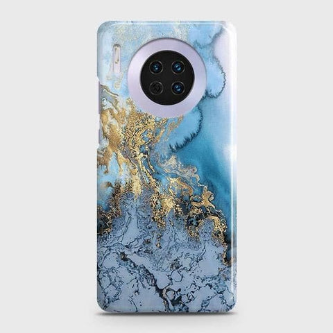 Huawei Mate 30 Cover - Trendy Golden & Blue Ocean Marble Printed Hard Case with Life Time Colors Guarantee