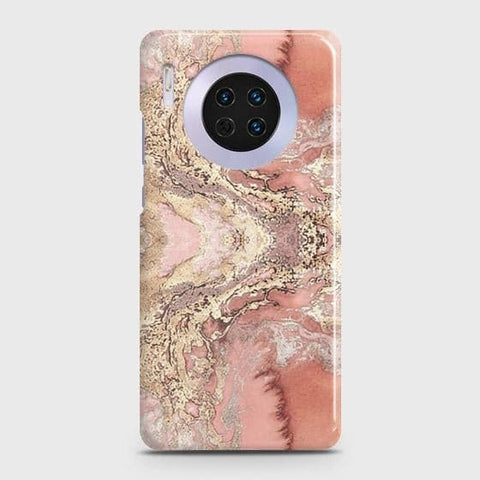 Huawei Mate 30 Cover - Trendy Chic Rose Gold Marble Printed Hard Case with Life Time Colors Guarantee