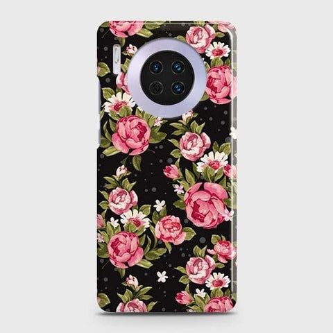 Huawei Mate 30 Cover - Trendy Pink Rose Vintage Flowers Printed Hard Case with Life Time Colors Guarantee