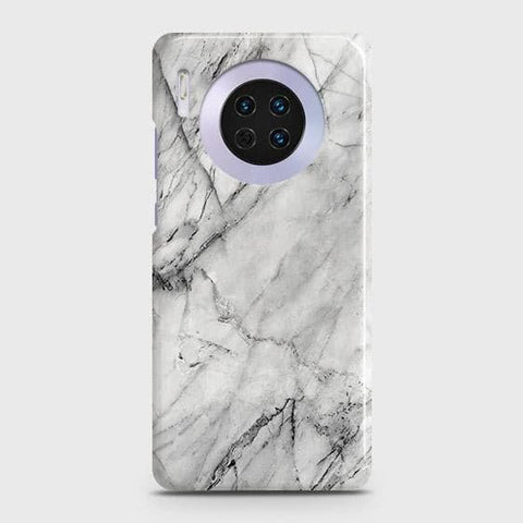 Huawei Mate 30 Cover - Trendy White Floor Marble Printed Hard Case with Life Time Colors Guarantee