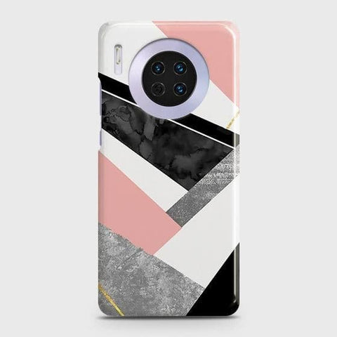 Huawei Mate 30 Cover - Geometric Luxe Marble Trendy Printed Hard Case with Life Time Colors Guarantee