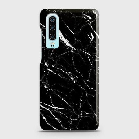 Huawei P30 Cover - Trendy Black Marble Printed Hard Case with Life Time Colors Guarantee