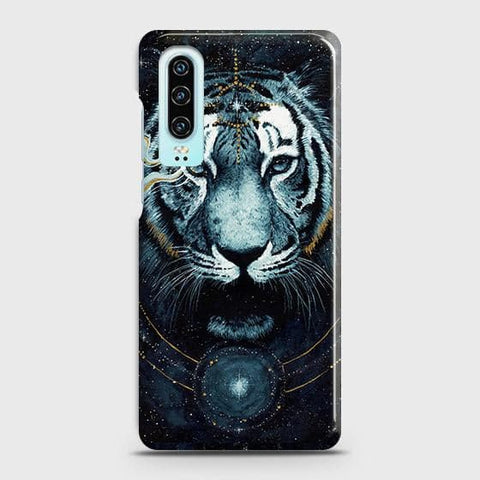 Huawei P30 Cover - Vintage Galaxy Tiger Printed Hard Case with Life Time Colors Guarantee