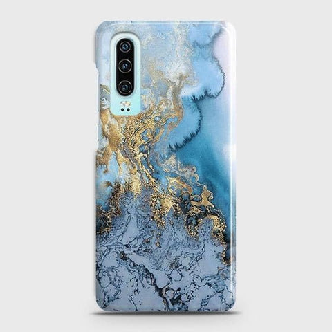 Huawei P30 Cover - Trendy Golden & Blue Ocean Marble Printed Hard Case with Life Time Colors Guarantee
