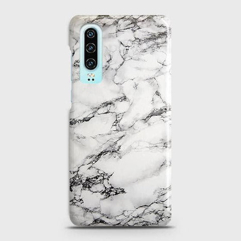 Huawei P30 Cover - Trendy White Floor Marble Printed Hard Case with Life Time Colors Guarantee