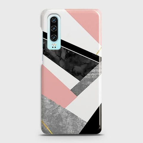 Huawei P30 Cover - Geometric Luxe Marble Trendy Printed Hard Case with Life Time Colors Guarantee