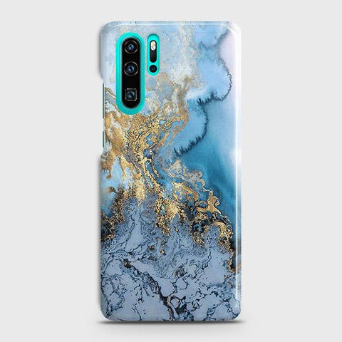 3D Trendy Golden & Blue Ocean Marble Case For Huawei P30 Pro